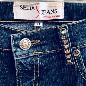 Gorgeous Rhinestone Embellished Designer Jeans Sz8